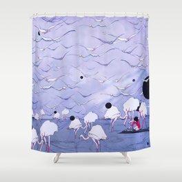 Flamingos on the beach  Shower Curtain
