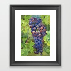 Grapes Watercolor Fruit Food Wine Lovers Framed Art Print