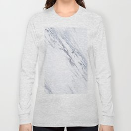 White Marble with Classic Black Veins Long Sleeve T-shirt