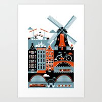 amsterdam Art Prints featuring Amsterdam by koivo