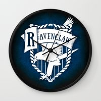 ravenclaw Wall Clocks featuring White Ravenclaw Crest by Sharayah Mitchell