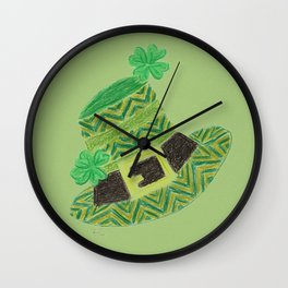 Green chevron leprechaun's hat lucky charm Wall Clock