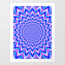 Psychedelic Pulse in Blue and Pink Art Print