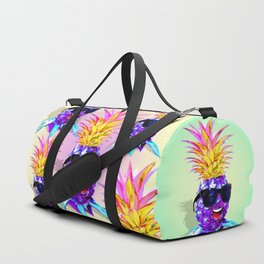 Pineapple Ultraviolet Happy Dude with Sunglasses Duffle Bag