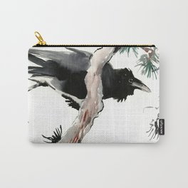 Raven, Japanese Ink Art, Traditional Asian Watercolor Carry-All Pouch