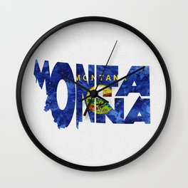 Montana Typographic Flag Map Art Wall Clock