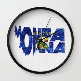 Montana Typographic Flag Map Art Wall Clock