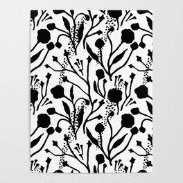 Modern abstract black white floral illustration Poster