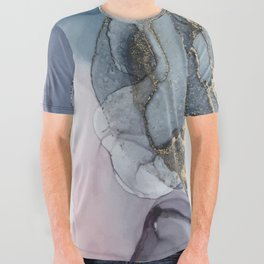 Blush, Payne's Gray and Gold Metallic Abstract All Over Graphic Tee