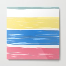 Pink blue modern brush strokes stripes pattern Metal Print