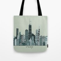 chicago bulls Tote Bags featuring Chicago  by bri.buckley