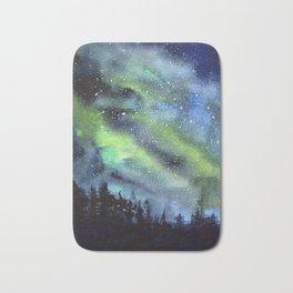Galaxy Nebula Watercolor Northern Lights Aurora Borealis Bath Mat