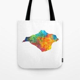 Isle of Wight Watercolor Map Tote Bag