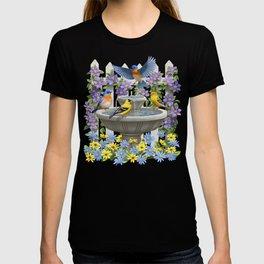Bird Fountain Flower Garden Gathering T-shirt