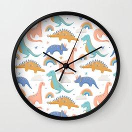 Dinosaurs + Rainbows in Blush Pink + Gold + Blue Wall Clock