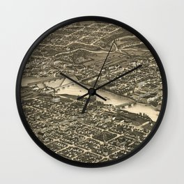 Vintage Map of Rockford Illinois (1880) Wall Clock