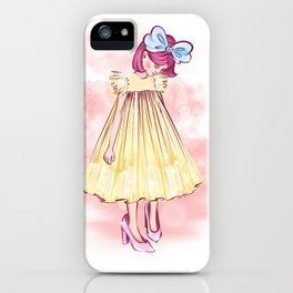 little girl with a bow and in yellow dress put on her mother's big shoes and looks at them iPhone Case