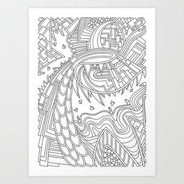 Wandering 49: black & white line art Art Print