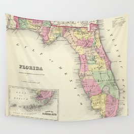 Vintage Map of Florida (1856) Wall Tapestry