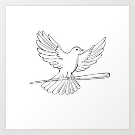 Pigeon or Dove Flying With Cane Drawing Art Print