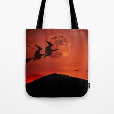 Two witches, one broom Tote Bag