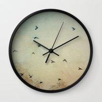 wings Wall Clocks featuring Wings by Stella Ortiz
