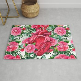 Watercolor heart with floral design Rug