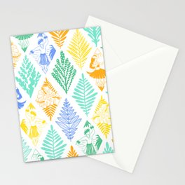 Hula Dancers Blue Yellow Green White Pattern Stationery Cards