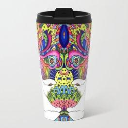 Psychedelic White Cat Travel Mug