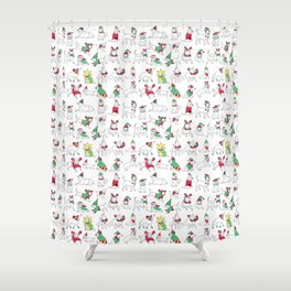 Christmas Dogs Shower Curtain
