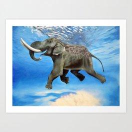 Rajan The Swimming Elephant Art Print