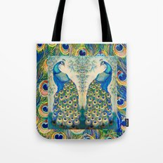 Blue Peacocks Tote Bag