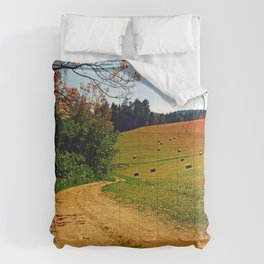 Hiking trail through springtime nature Comforters