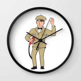 Gas Jockey Attendant Waving Isolated Cartoon Wall Clock