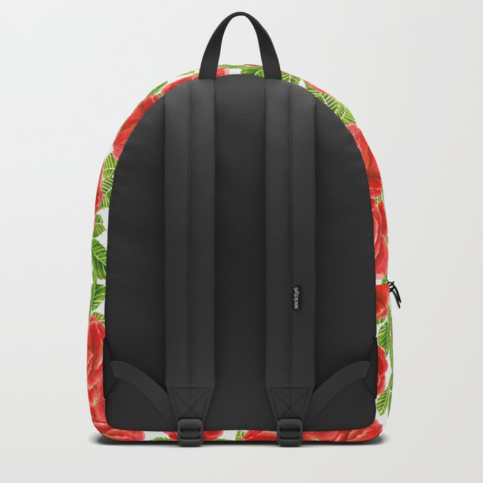 Red roses watercolor seamless pattern Backpack