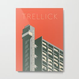 Trellick Tower London Brutalist Architecture - Text Red Metal Print
