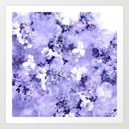 Girly modern purple floral watercolor pattern Art Print
