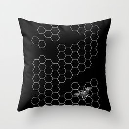 Beehive and Bee Black Throw Pillow