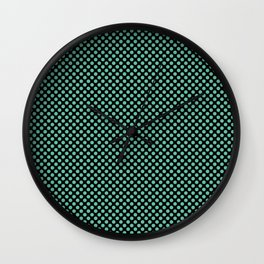 Black and Spearmint Polka Dots Wall Clock