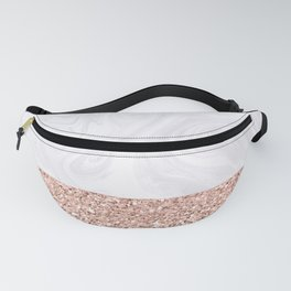 White Marble Dipped in Rose Gold Glitter Fanny Pack