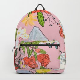 Pomegranate and Lily and Colorful Flowers Pattern Backpack
