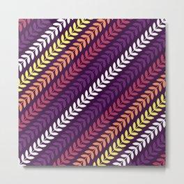 Scandinavian pattern leaves simple inclined seamless pattern purple background in retro style Metal Print