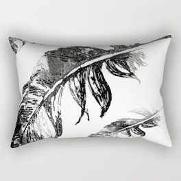 FEATHERS IN BLACK WHITE AND GRAY Rectangular Pillow