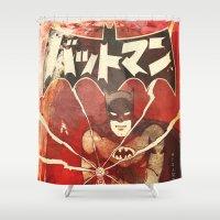 manga Shower Curtains featuring Bat Man (Manga) by Fernando Vieira