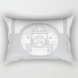 Light Grey digital drawing of a 4x4 adventure vehicle in the mountains Rectangular Pillow