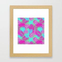 Neon Pink & Blue Tropical Print Framed Art Print