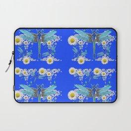 BLUE DRAGONFLIES REPEATING  DAISY FLOWERS  ART Laptop Sleeve