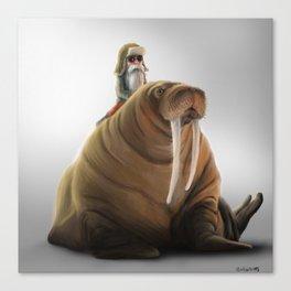 Winter Gnome on Walrus Canvas Print