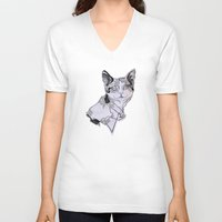 my mad fat diary V-neck T-shirts featuring fat cat by vasodelirium
