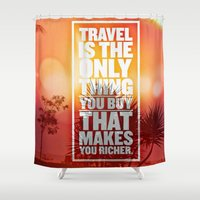love quotes Shower Curtains featuring Quotes - Travel by MehrFarbeimLeben